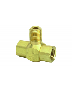"J-Series Shuttle Valve, 1/4"" Male Out, 1/4"" Male In, 1/4"" Female In"