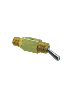 """2-Way Toggle Valve, N-C, Momentary Open ENP Steel Toggle, 1/8"""" NPT Male"""