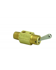 """2-Way Toggle Valve, N-O, Momentary Closed,  ENP Steel Toggle, 1/8"""" NPT Male In"""