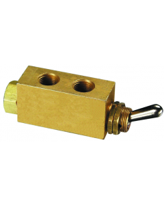 "3-Way Toggle Valve, ENP Steel Toggle, 1/8"" NPT"
