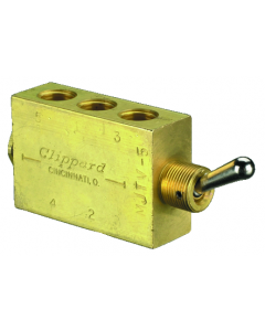"4-Way Toggle Valve, ENP Steel Toggle, 1/8"" NPT"