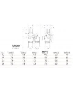 """1/2"""" NPT Stacking FRL with Metal Bowl, 3000 l/min"""